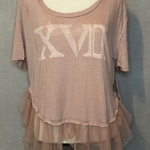 Free People Distressed Mauve Top (size M) NWT